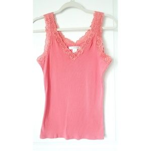 August Silk Coral V-Neck Tank Top Size M